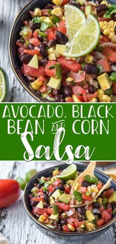 Spice up your fiesta with this colorfully delicious Avocado Black Bean and Corn Salsa! Diced tomato onion and jalapeño come together with with fresh corn black beans and ripe avocado with lots of lime and cilantro to round out the classic Mexican flavors. Avocado Corn Salsa, Corn Bean Salsa, Salsa Guacamole, Black Bean Corn Salad, Black Bean Salsa, Avocado Tomato Salad, Black Beans, Ripe Avocado, Fresh Salsa Recipe