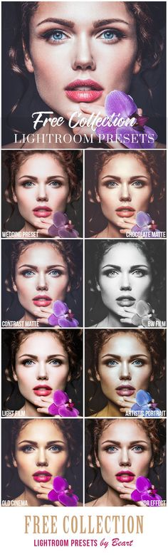 20 Free Lightroom Presets to Make Your Images Pop http://www.beart-presets.com/shop/free-lightroom-presets FREE Lightroom presets to easily edit your photos to perfection! Instant download   Works perfect with all versions of Lightroom