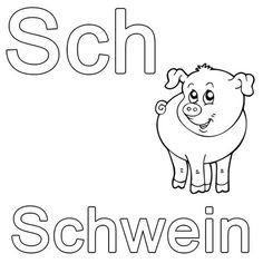 Ausmalbild Buchstaben lernen: Kostenlose Malvorlage: Sch wie Schwein kostenlos ausdrucken
