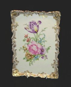 Dresden Tray Handpainted Porcelain Floral Much Gilt