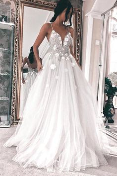 Spaghetti Straps Sleeveless Backless Wedding Dress with Appliques Wedding Gown evening gowns for wedding Western Wedding Dresses, Cute Wedding Dress, Wedding Dress Chiffon, Backless Wedding, Long Wedding Dresses, Cheap Prom Dresses, Bridal Dresses, Bridesmaid Dresses, Wedding Gowns