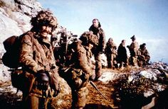 """mjmoss: """" 11-12th June 1982, British troops from the Parachute Regiment capture the Argentine occupied Mount Longdon after a fierce night battle. Mt Longdon defended the approach to Stanley, the Falkland's occupied capital. The capture of the...pin by Paolo Marzioli"""