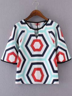 SheIn offers Multicolor Geometric Printed Key-hole Blouse & more to fit your fashionable needs. Dressy Tops, Casual Tops, Western Tops, Designs For Dresses, Summer Blouses, African Attire, Blouse Online, Blouse Designs, Blouses For Women