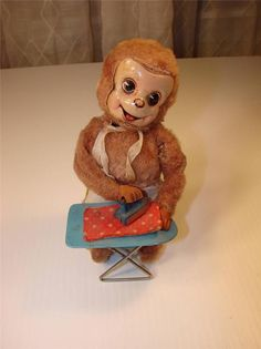 Ironing Monkey. Wind up toy from 50s/ebay