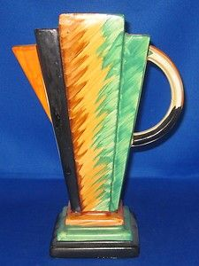 Art Deco Myott Pyramid Jug Vase Handpainted pattern 9164