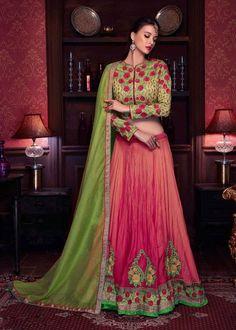 Pink Designer Art Silk Lengha Choli with contrast green dupatta For wedding ceremony