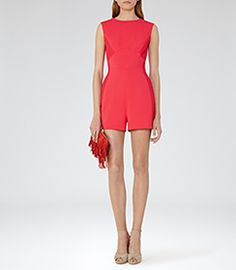 Womens Cherry Red Contrast-panel Playsuit - Reiss Maia