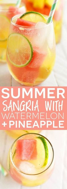Sommer Sangria mit Wassermelone und Ananas - No Bake Gluten Free Desserts - Cocktails Party Drinks, Cocktail Drinks, Cocktail Recipes, Wine Recipes, Vodka Cocktails, Vodka Martini, Bourbon Drinks, Dishes Recipes, Punch Recipes