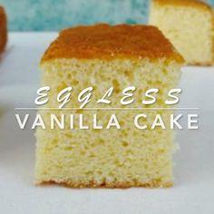 Eggless Vanilla Cake Recipe, Eggless Desserts, Eggless Recipes, Eggless Baking, Homemade Cake Recipes, Vegan Baking, Eggless Cake Recipe Video, Vanilla Chiffon Cake Recipe, Vegan Vanilla Cake