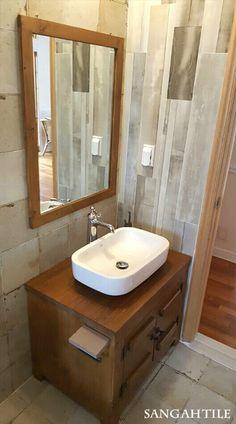 Tile-URBANWOOD 15x90 , FS 45x45 #tile #tiles #sangahtile #woodtile #bathroom #wall #floor #design #vintage#interior #상아타일 #욕실#세면대 #힐링하우스 #타일 #우드타일 #빈티지  우드 타일과 빈티자한 타일이 만난 내추럴한 욕실 탄생 ♥