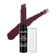 NYX High Voltage Lipstick in Dahlia. Somewhat difficult to apply and feathers, but is VERY pigmented and really dark for my skin tone. $7