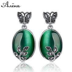 Big Green Jade Agate Earrings Natural Stone Vintage Retro Black Rhinestone Zircon Butterfly Leaf Piedras Verdes Dangle Earrings