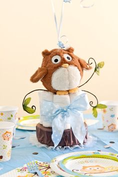 Owl Baby Shower Decorations for Boys. Owl Diaper Cake Balloon Centerpiece with Personalized Table Sprinkles by SetToCelebrate, $42.00 - tableware and decorations also on www.settocelebrate.com