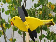 Whirligig Goldfinch Bird Large Version Whirlygig Whirley's Hand Made Folk Art #Whirligig