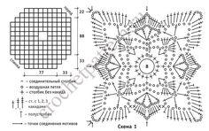 Выкройка, схемы и условные обозначения для вязания крючком пончо из ажурных ромбов.