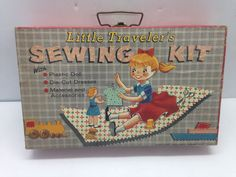 Vintage 1957 Little Travelers Sewing Kit Doll Thimble Hat Clothes NY {DD149} #LittleTravelers