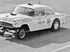 Vintage Drag Racing - 55 Chevy.... so many of these were lost in racing wrecks and crashes.....