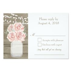 Mason Jar Wedding Rsvp Cards with Pink Peonies
