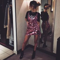 Awesome styling from #motelbabe @indiaward ~ shop link in bio to get your 'FINN DRESS ROSE DISC SEQUIN' ⚡️ #motelrocks