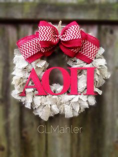 Alpha Omicron Pi Sorority burlap wreath on Etsy, $70.00