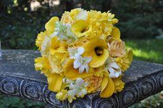 bouquet yellow callas, white orchids, dalihas White Orchids, Bouquet, Yellow, Plants, Bouquet Of Flowers, Bouquets, Flora, Wreaths, Plant