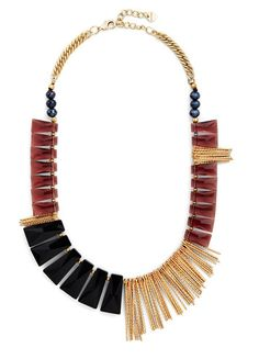 Multifaceted Fame Necklace -- with a white scoop neck tee