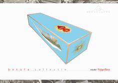 The Beerenberg Papyrifera coffin, print on wood - weer eens iets anders. Www.memoriauitvaartzorg.nl