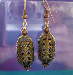 Unique Earrings for Girlfriend Gift, Oval Metal Fillagree Dangle Earrings