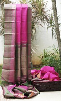 Lakshmi Handwoven Kanjivaram Silk Sari 000185 - Sari / All Saris - Parisera Kanjivaram Sarees, Kanchipuram Saree, Indian Attire, Indian Ethnic Wear, Indian Dresses, Indian Outfits, Sari Design, Indian Silk Sarees, Elegant Saree
