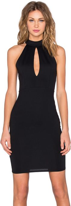 Donna Mizani Mock Neck Keyhole Mini Dress