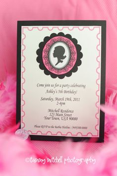 barbie invitation - layer card stock