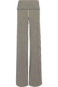 Norma Kamali - Striped Stretch-jersey Wide-leg Pants - Black - x small