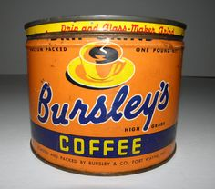 Vintage Bursley's Coffee Tin Can - circa 1940 - from DustyMillerAntiques on Etsy, $35.00