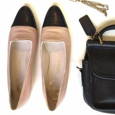Delman Pink and Black Leather Loafers These are so very lady like! Perfect for when you want a classic flat to go with that LBD, but equally chic with ripped boyfriend jeans and a white button down. Slight discoloration on the back of he shoes (see pics). Size 8 N for narrow I assume. I don't find them particularly narrow but please let me know if you would like measurements. Sorry, no trades. Delman Shoes Flats & Loafers