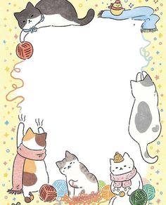 Cute Cartoon Drawings, Kawaii Drawings, Kitten Tattoo, Cute Notes, Kawaii Cat, Stationery Paper, Cat Drawing, Fantastic Art, Writing Paper