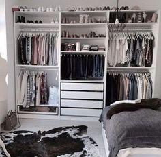 Ikea pax kleiderschrank, closet layout, diy quartos, closet bedroom, ikea p Bedroom Closet Design, Room Ideas Bedroom, Closet Designs, Bedroom Decor, Bedroom Storage, Bedroom Corner, Bedroom Wall, Diy Wardrobe, Bedroom Wardrobe