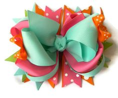 Spring hair bow in aqua pink orange and lime by PoshPrincessBows1, $12.75