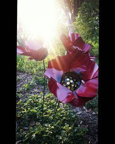 Red Poppy Flower Garden Stakes Metal Garden by GardenDreamsDecor