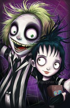 Just finished my Beetlejuice tribute piece. I've been having a lot of fun lately practicing digital painting and I'm pretty happy with this one . characters illustration tim burton Art of Christopher Uminga Tim Burton Stil, Tim Burton Kunst, Film Tim Burton, Estilo Tim Burton, Tim Burton Characters, Tim Burton Art, Arte Horror, Horror Art, Horror Movies