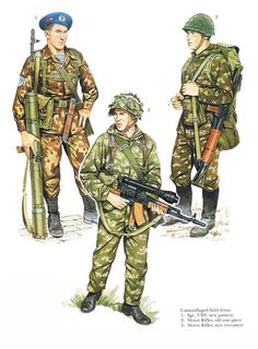 1980s Soviet Army and Airborne Troops summer field camouflage uniforms.