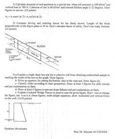 Zemin Mekaniği -2 Dersi 1.Vize Soruları ve Çözümleri