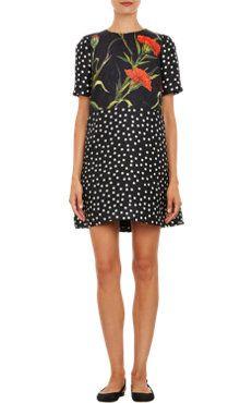 Dolce & Gabbana Carnation & Polka Dot A-line Mini-Dress