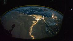 Nighttime photo of Egypt at night.
