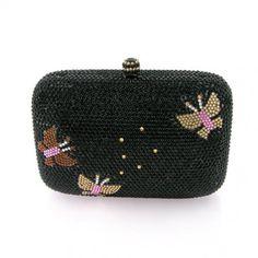 Pillow-Shaped Austrian Crystal Amber Rose Butterflies Evening Bag