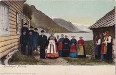 Wedding party, Hardanger, Norway, ca 1900.  An Axel Eliasson postcard