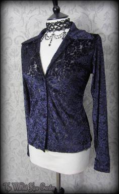 Elegant Goth Purple Rose Velvet Devore Shirt Top 10 M L Romantic Victorian Vamp | THE WILTED ROSE GARDEN