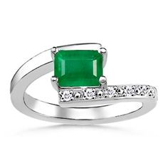 Emerald Cut Emerald and Round Diamond Bypass Ring