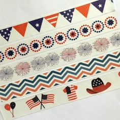 4th Of July Tape, American Washi, Summer, Holiday, Fireworks, Flag, Cowboy, Texas, America, Independence, Flags, Bunting, Stripes, Stars