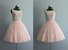 Vintage Dress / 1960s Party Dress / Pink Lace Party by HolliePoint, $136.00