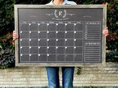 LARGE 24 X 36 Chalkboard Calendar Dry erase calendar Chalkboard Calendar, Large Chalkboard, Magnetic Calendar, Calendar Wall, Calendar Ideas, Surface Note, Writing Area, Dry Erase Calendar, Colored Chalk
